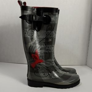 Capelli New York Rain Boots Grey with Birds size 6